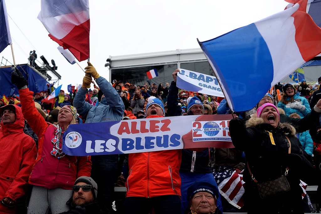 . BEAVER CREEK, CO - FEBRUARY 15: Lionel Heougin (center), a super fan from Paris, France, cheers during the men\'s slalom. FIS Alpine World Ski Championships 2015 on Sunday, February 15, 2015. (Photo by AAron Ontiveroz/The Denver Post)