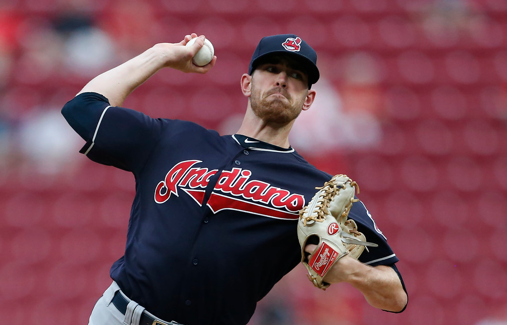 . Cleveland Indians starting pitcher Shane Bieber throws to a Cincinnati Reds batter during the first inning of a baseball game Wednesday, Aug. 15, 2018, in Cincinnati. (AP Photo/Gary Landers)