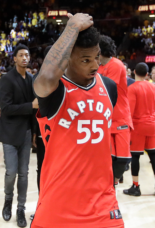 . Toronto Raptors\' Delon Wright walks off the court after a 128-93 loss to the Cleveland Cavaliers in Game 4 of an NBA basketball second-round playoff series, Monday, May 7, 2018, in Cleveland. (AP Photo/Tony Dejak)