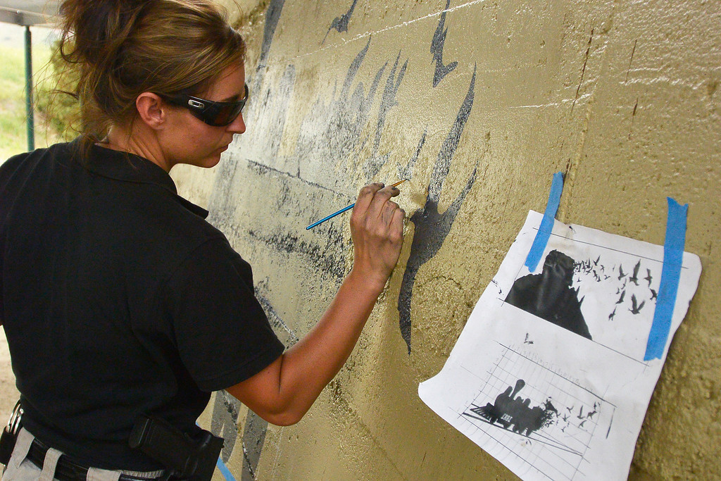 . Castle Rock police officer Renee Tremaine finishes up painting birds with the train scene at Hangmans Gulch underpass.  (Photo by John Leyba/The Denver Post)
