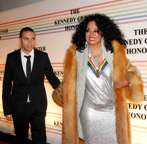 . Diana Ross, right, and her son Evan Ross, walk the red carpet at the Kennedy Center Honors, in Washington, on Sunday, Dec. 5, 2010. The 2010 honorees are Merle Haggard, Jerry Herman, Bill T. Jones, Paul McCartney, and Oprah Winfrey. (AP Photo/Jacquelyn Martin)