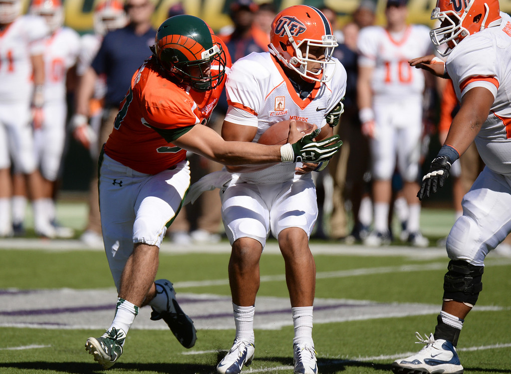 . FORT COLLINS, CO - September 28 : Joe Kawulok of Colorado State University (90) pressures QB Jameill Showers of University of Texas at El Paso (1) in the 2nd quarter of the game at Hughes Stadium. Fort Collins, Colorado. September 28, 2013. (Photo by Hyoung Chang/The Denver Post)