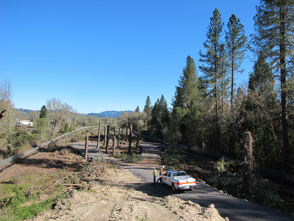 . View from the top of the mound looking toward East Hill Road. The gravel roadway is the area used by CHP to remove tree sitters 2 and 3 from the pine trees on April 2.