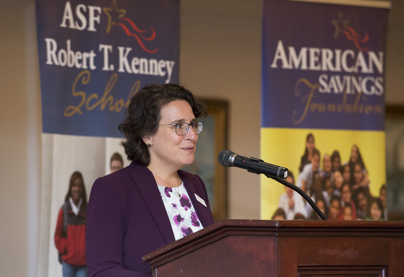 08/07/19  Wesley Bunnell   Staff  The American Savings Foundation held their annual dinner on Wednesday August 8, 2019 at the Aqua Turf in Southington to honor the 281 recipients of the Robert T. Kennedy Scholarship awarded by the foundation.  President and CEO Maria Falvo addresses the audience.