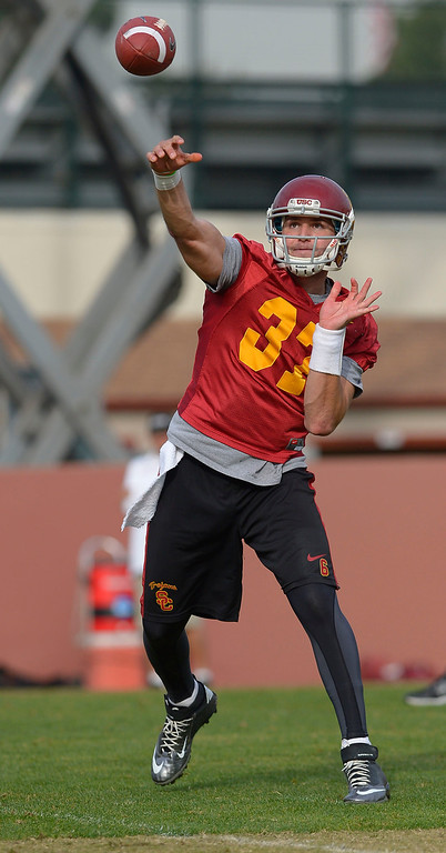 . Cody Kessler delivers a pass during USC\'s final practice of the 2013 season December 18, 2013 in Los Angeles, CA.  The team flies to Las Vegas to play Fresno State in the Las Vegas Bowl on December 21, 2013.(Andy Holzman/Los Angeles Daily News)