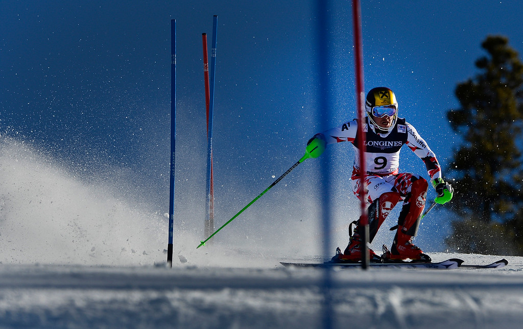. BEAVER CREEK, CO - FEBRUARY 8: Marcel Hirscher of Austria runs the course at the Men\'s slalom portion of the Men\'s alpine combined race at the FIS Alpine World Ski Championships in Beaver, CO. February 8, 2015. Hisrcher won the Men\'s combined race. (Photo By Helen H. Richardson/The Denver Post)
