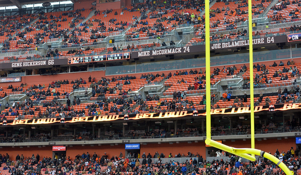 . Empty sets are shown in the second half of an NFL football game between the Cincinnati Bengals and the Cleveland Browns, Sunday, Dec. 11, 2016, in Cleveland. (AP Photo/David Richard)