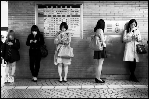 Waiting at Shinjuku Train Station, Tokyo, 2014