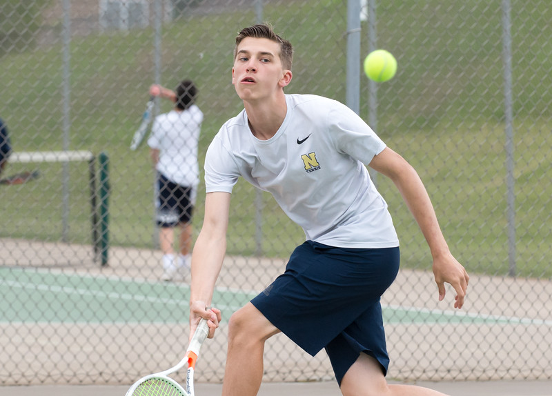 05/09/19  Wesley Bunnell | Staff  Newington boys tennis defeated New Britain at New Britain High School on Thursday afternoon. Newington's number two player Matt Utter.