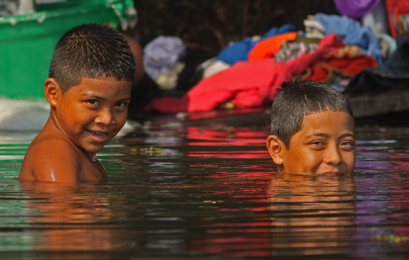 Embera Indian boys bathing in the Chagres River
