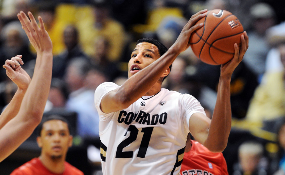 . Andre Roberson of CU goes to the basket against Hartford during the second half of the December 29, 2012 game in Boulder. (Cliff Grassmick / Daily Camera) December 29, 2012