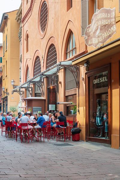 BOLOGNA, ITALY - May 27, 2018: Restaurants in Bologna, Italy