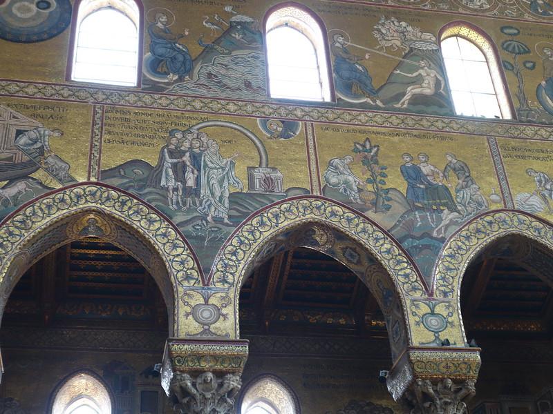 Mosaic detail -- God creates Adam (upper right)