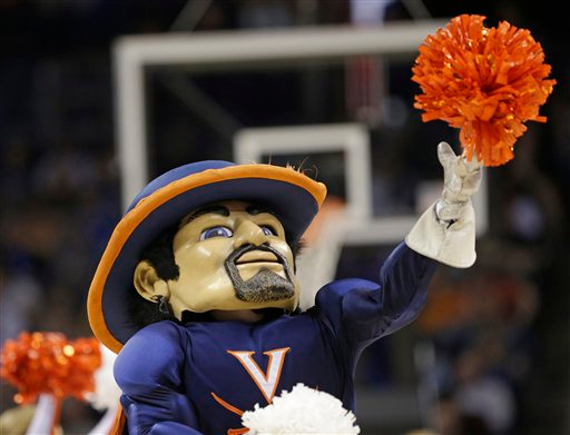 . The Virginia mascot performs during the second half of an NCAA tournament college basketball game against Michigan State in the Round of 32 in Charlotte, N.C., Sunday, March 22, 2015. (AP Photo/Gerald Herbert)