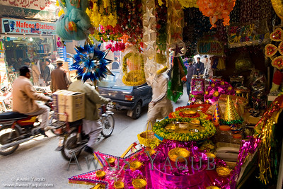 Mehndi accessories in busy bazaar