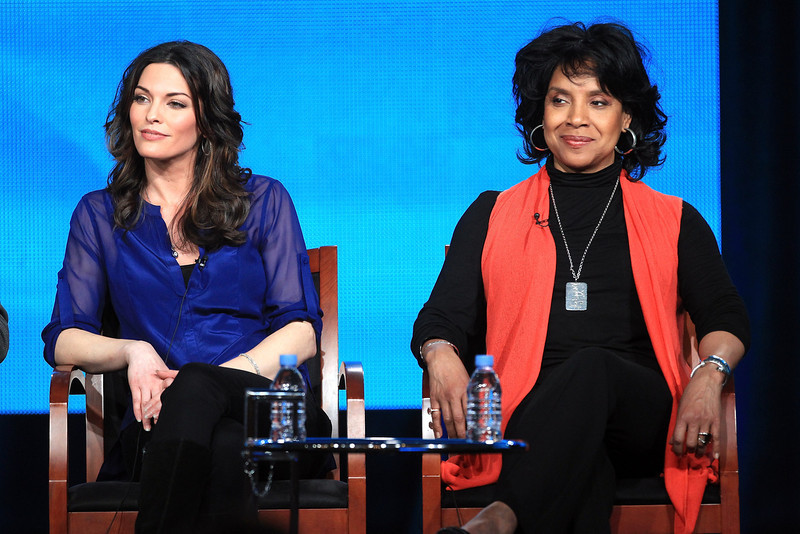 ". Actors Alana De La Garza (L) and Phylicia Rashad speak onstage at the ""Do No Harm\"" panel session during the NBCUniversal portion of the 2013 Winter TCA Tour- Day 3 at the Langham Hotel on January 6, 2013 in Pasadena, California.  (Photo by Frederick M. Brown/Getty Images)"