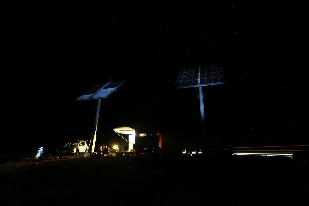 . ALICE SPRINGS, AUSTRALIA - OCTOBER 08:  A general view of the camp of Team Arrow, Associated with Queensland University of Technology in Australia is seen as they stop for the night after racing on October 8, 2013 between Alice Springs and  Kulgera, Australia. Over 25 teams from across the globe are competing in the 2013 World Solar Challenge - a 3000 km solar-powered vehicle race between Darwin and Adelaide. The race began on October 6th with the first car expected to cross the finish line on October 10th.  (Photo by Mark Kolbe/Getty Images)