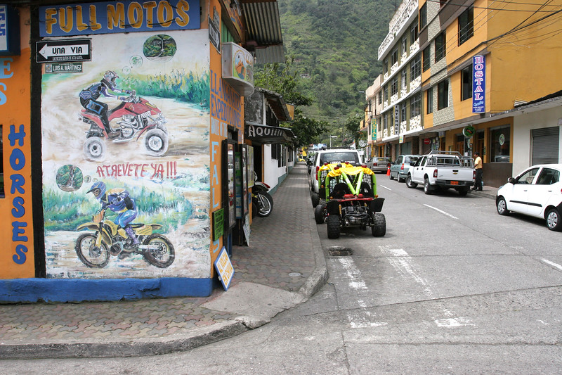 Banos has a lot of ways to get around.  You can rent bikes, horses, motorcycles and off-road-looking-dune-bug-thingys.