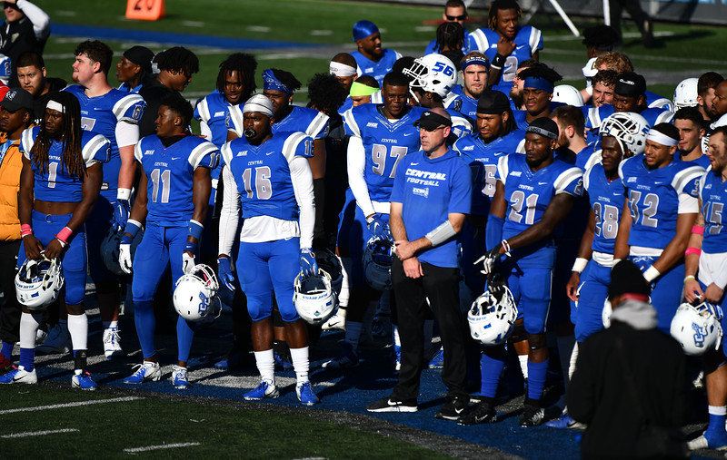 10/19/2019 Mike Orazzi   Staff CCSU Head Football Coach Ryan McCarthy during Saturday's football game with Bryant in New Britain.