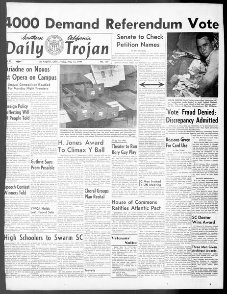 Daily Trojan, Vol. 40, No. 139, May 13, 1949