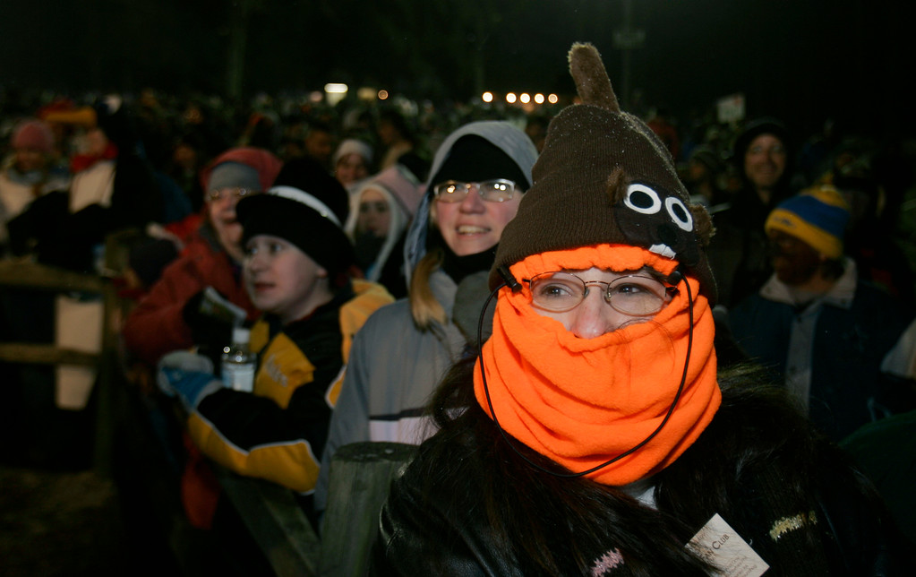 . Elaine Zatal of Vandergrift, Pa., wears a groundhog hat as she waits to see Punxsutawney Phil, the weather predicting groundhog, who predicted an early spring in Punxsutawney, Pa., Friday, Feb. 2, 2007.    (AP Photo/Carolyn Kaster)