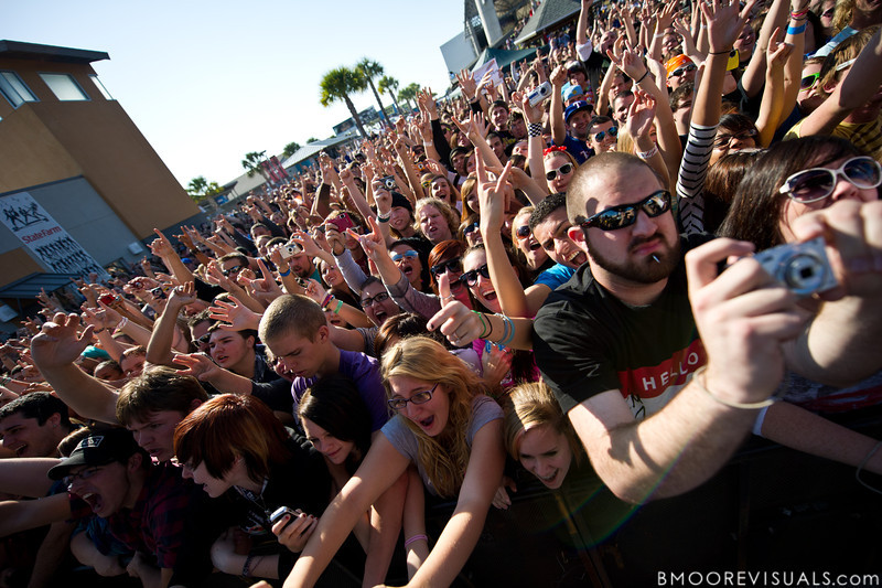 "The crowd goes crazy as A Day To Remember perform in support of ""What Separates Me from You"" on December 5, 2010 during 97X Next Big Thing at 1-800-ASK-GARY Amphitheatre in Tampa, Florida"