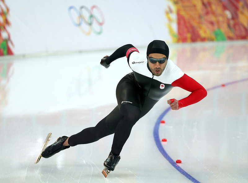 . Muncef Ouardi of Canada competes in the Speed Skating Men\'s 1000m during day five of the Sochi 2014 Winter Olympics at Adler Arena Skating Center on February 12, 2014 in Sochi, Russia.  (Photo by Robert Cianflone/Getty Images)