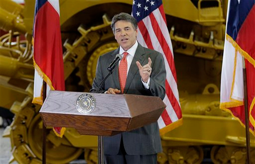 Description of . Texas Gov. Rick Perry announces he will not seek reelection as governor, Monday, July 8, 2013, at Holt Cat in San Antonio, Texas. A staunch Christian conservative, proven job-creator and fierce defender of states' rights, Perry has been in office nearly 13 years, making him the nation's longest-sitting current governor. (AP Photo/Eric Gay)