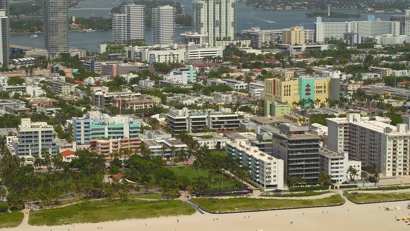 Aerial Miami Beach coastal scene and sand