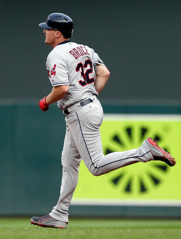 . Cleveland Indians\' Jay Bruce rounds the bases on his solo home run off Minnesota Twins pitcher Aaron Slegers during the fourth inning of the second game of a baseball doubleheader Thursday, Aug. 17, 2017, in Minneapolis. (AP Photo/Jim Mone)