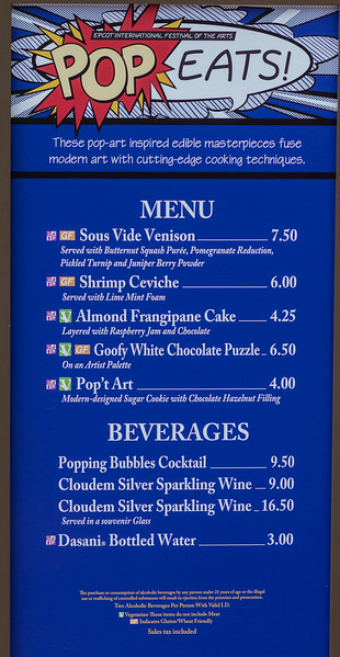 POP Eats! Full Menu with Prices - Epcot International Festival of the Arts 2017