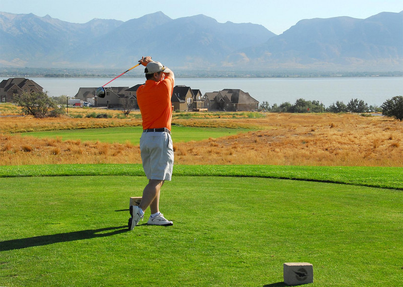 8/8/07 – That's me. I played in a fund raising golf tournament for UVSC (Utah Valley State College). The school will soon become UVU (Utah Valley University). The funds go to their athletic department. My employer, Mstar, is a major supporter. Our CEO is a former student body president. This course is Talons Cove on the west side of Utah Lake. My home is on the opposite side of the lake.