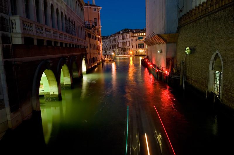 Venetian canal by night, Venice, Italy