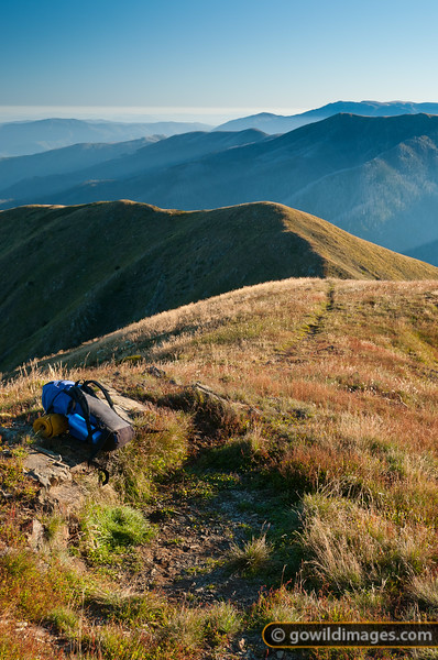 Morning light on 'North Razorback', Mt Feathertop. Mt Bogong in the distance.
