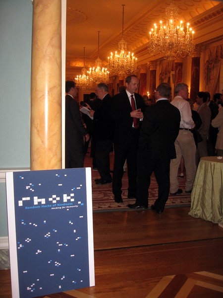 Sign for the Random Hacks of Kindness reception in The Benjamin Franklin State Dining Room, one of the Diplomatic Reception Rooms