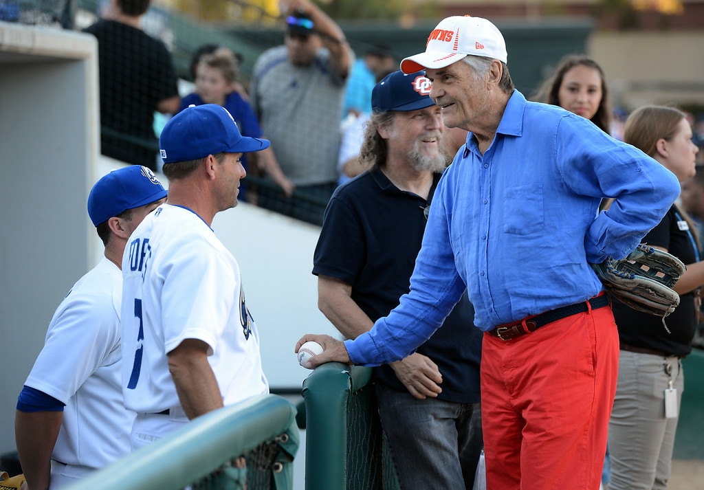 . Actor Fred Willard talks with players before throwing out the first pitch at the Quakes game at LoanMart Field in Rancho Cucamonga, CA, Friday, August 15, 2014. (Photo by Jennifer Cappuccio Maher/Inland Valley Daily Bulletin)