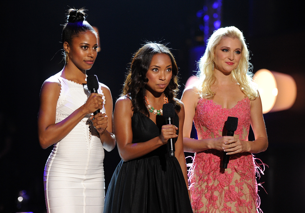 . Actors Taylour Paige, Logan Browning and Katherine Bailess speak onstage at the DoSomething.org and VH1\'s 2013 Do Something Awards at Avalon on July 31, 2013 in Hollywood, California.  (Photo by Kevin Winter/Getty Images)