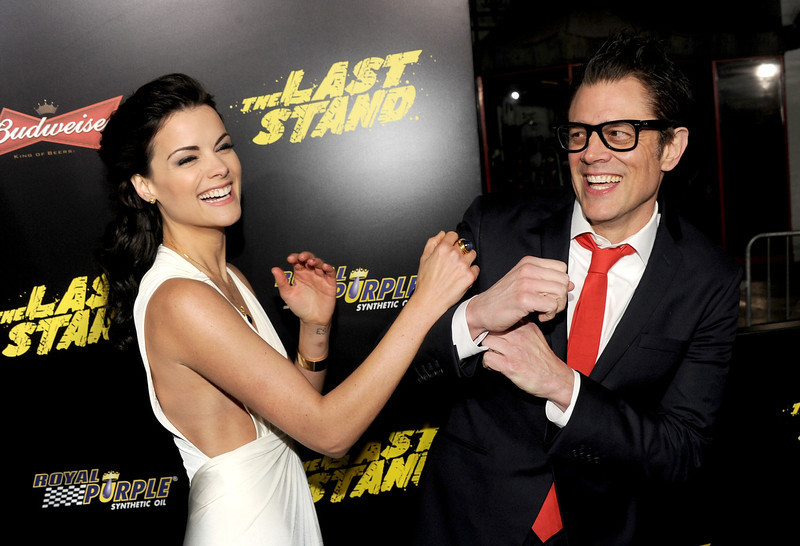 ". Actors Jaimie Alexander (L) and Johnny Knoxville arrive at the premiere of Lionsgate Films\' ""The Last Stand\"" at Grauman\'s Chinese Theatre on January 14, 2013 in Hollywood, California.  (Photo by Kevin Winter/Getty Images)"