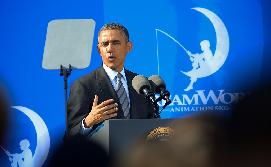 . President Barack Obama speaks to employees at DreamWorks studios in Glendale Tuesday, November 26, 2013.  In the speech Obama talked about jobs and Obamacare.  (Photo by David Crane/Los Angeles Daily News.)