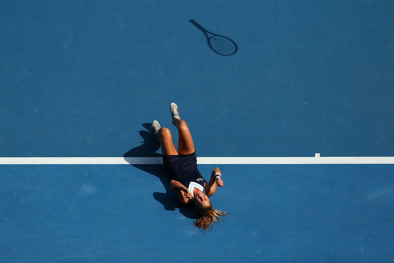 . Dominika Cibulkova of Slovakia celebrates winning her semifinal match against Agnieszka Radwanska of Poland during day 11 of the 2014 Australian Open at Melbourne Park on January 23, 2014 in Melbourne, Australia.  (Photo by Scott Barbour/Getty Images)