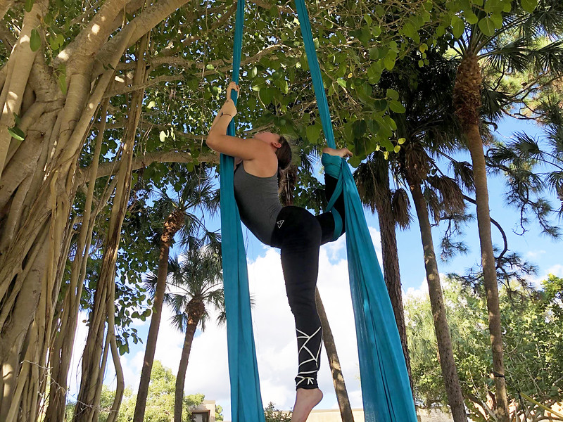 Rose Schimmel, a third-year student at New College, has organized the Aerial Silks club.