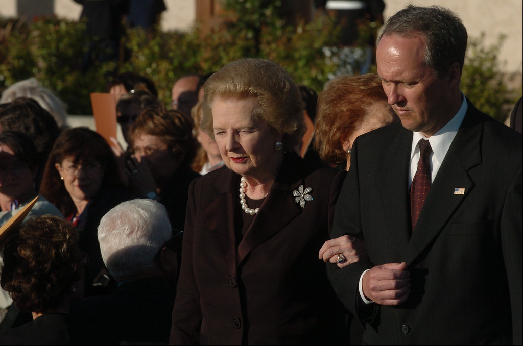 . 6/11/04--Simi Valley--  Margaret Thatcher arrives during funeral services for the 40th President at the Ronald Reagan Library in Simi Valley, Ca, Friday, June 11th, 2004.  (Los Angeles Daily News file photo)