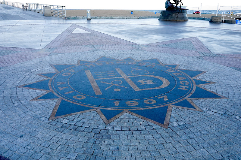 The city seal sits at the foot of the Hermosa Beach Pier in Hermosa Beach, California