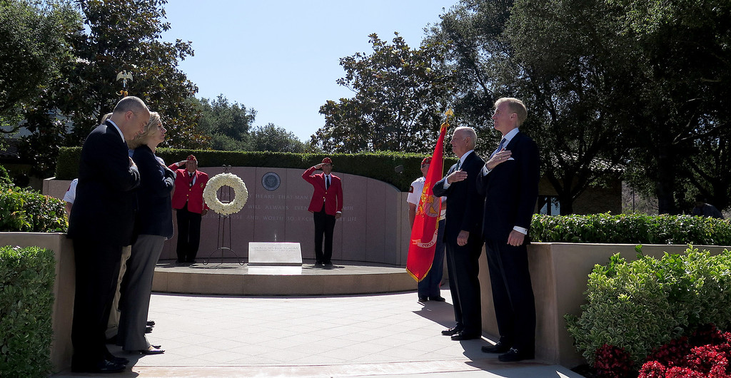 . On June 5, 2014, the Ronald Reagan Presidential Foundation commemorated  anniversaries with a special program at his Presidential Library that focused on his legacy and impact on the country after so many years since leaving office.  Wreath Laying Ceremony at President Reagan�s Gravesite included Secretary James Baker and Reagan Foundation Board Chairman Frederick J. Ryan, Jr. at right, with the assistance of the Marine Corps League President Ronald Reagan Detachment. (Photo by Dean Musgrove/Los Angeles Daily News)