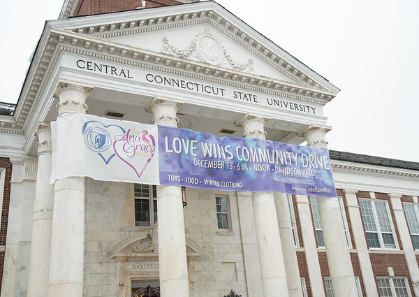 12/13/19 Wesley Bunnell | StaffrrToys, warm clothes, non perishable food items were collected on Friday from 6 a.m. until noon outside of CCSU's Davidson Hall in conjunction with CCSU and The Anna Grace Project's Love Wins.