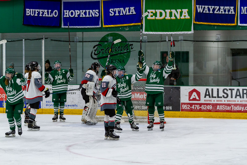 Holy Family's Caitlin Rock '20 (12) vs. Eden Prairie at Braemar Arena - Collin Nawrocki/The Phoenix