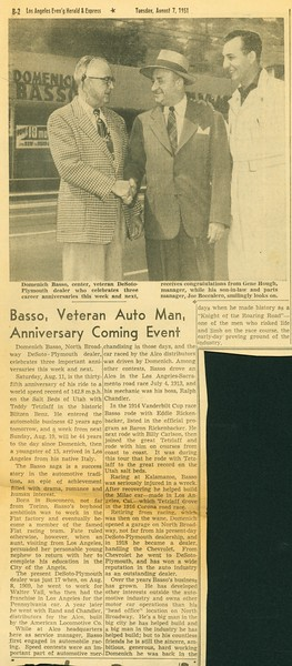 1951, Three Basso Anniversaries
