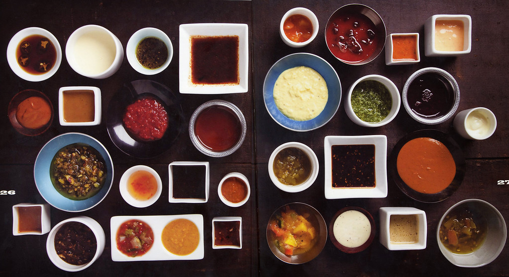 . Sauces in the Vesta Dipping Grill cookbook Beyond the Sauce by Josh Wolkon and Matt Selby.