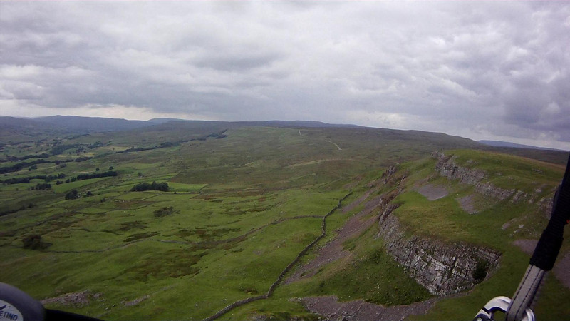 Nappa Scar looking west. Long transistion from Stags but a top up ridge half way (trees visible at ridge) if required. Two roads split the moor; the gradual upslope means fairly bouyant across to Nappa.