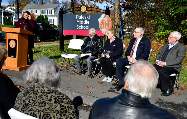 11/10/2018 Mike Orazzi   Staff New Britain Mayor Erin Stewart during a dedication ceremony on Saturday to mark the naming of the entrance of Pulaski Middle School in honor of former Mayor William J. McNamara Saturday morning.